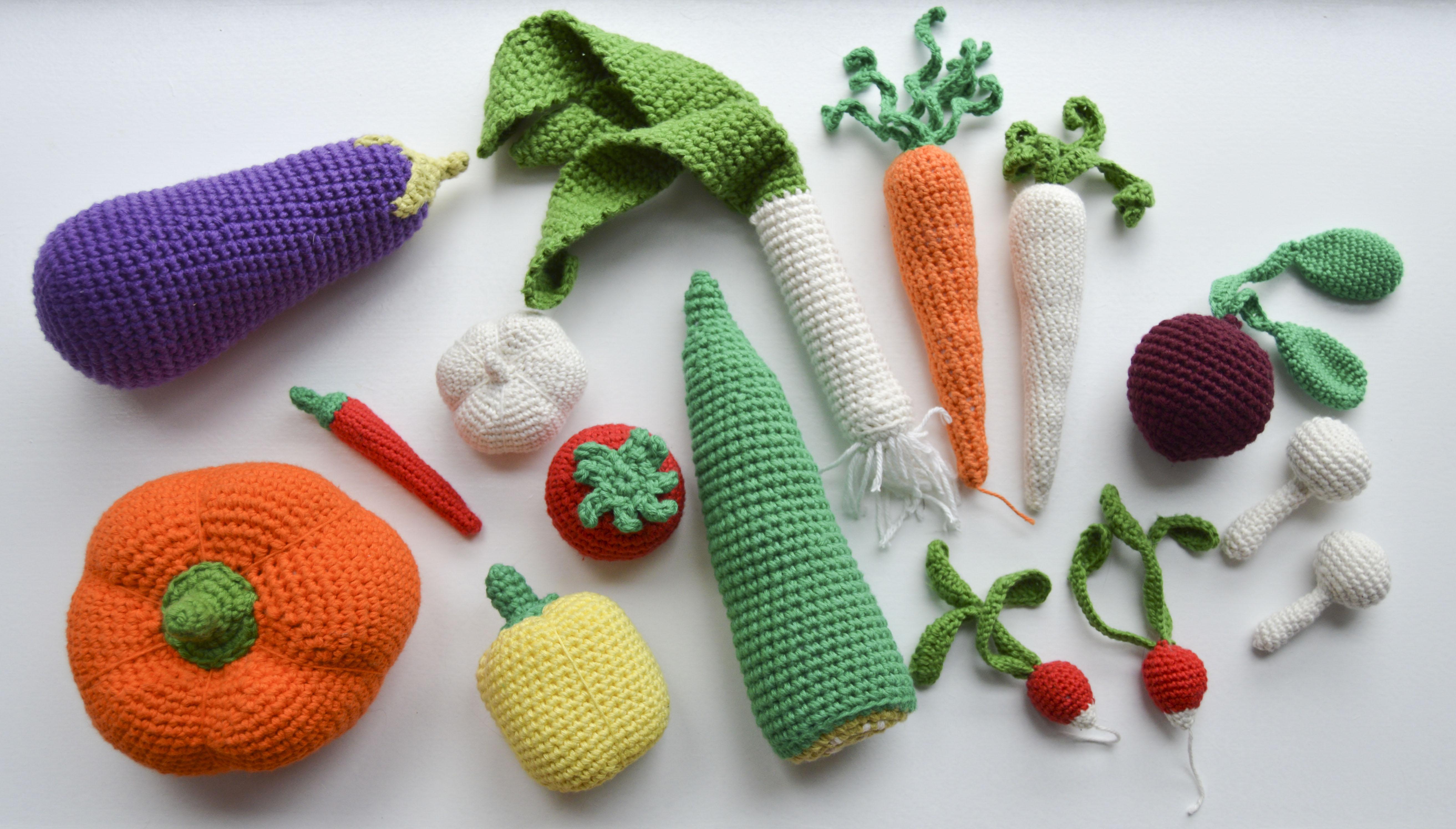 hæklet frugt og grønt opskrift