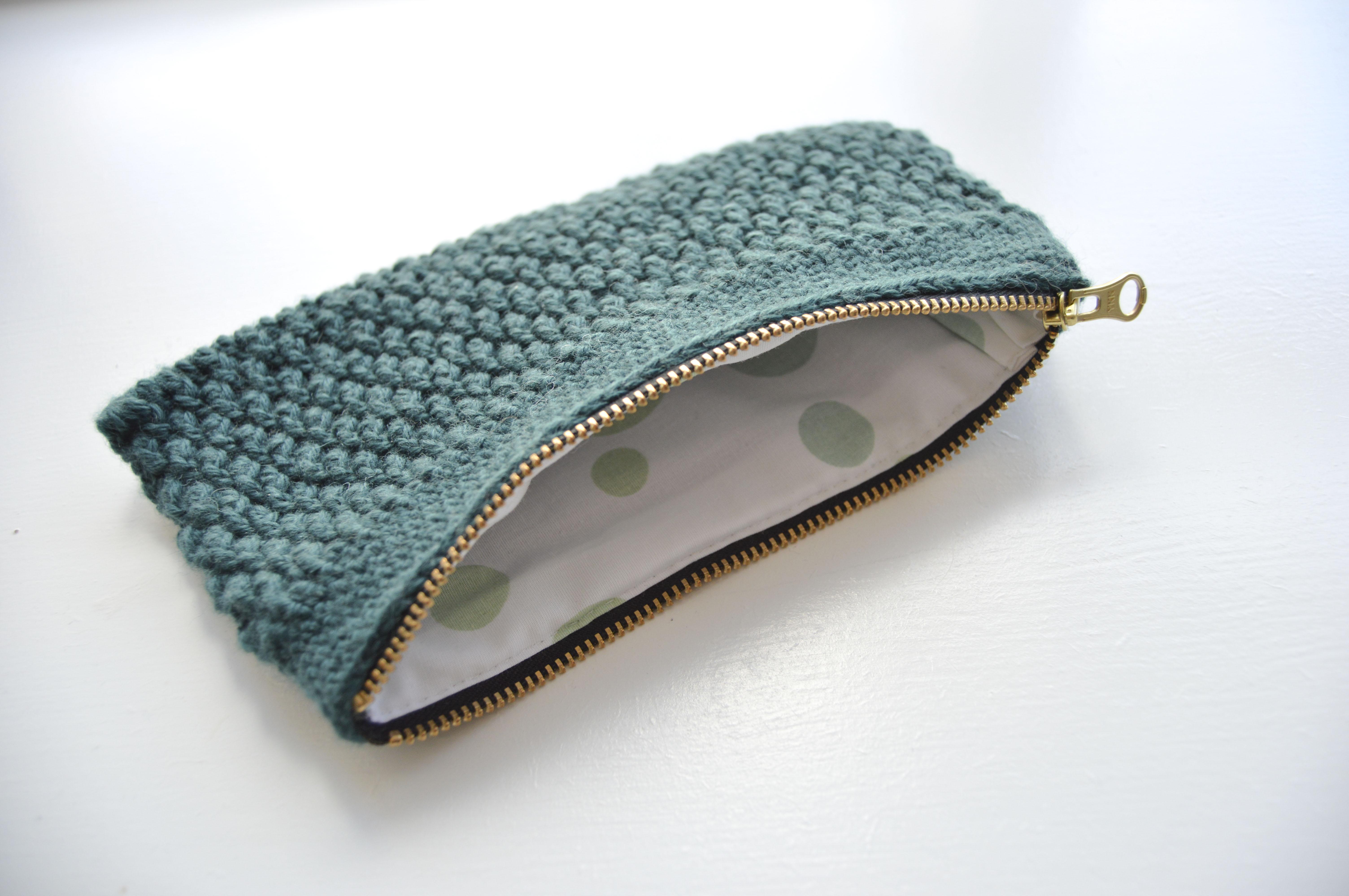 strikket clutch opskrift